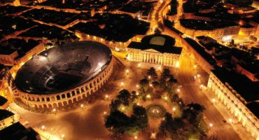 Aerial,Drone,Night,Shot,From,Iconic,Illuminated,Arena,Theatre,And